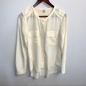 Wilfred Aritzia 100% silk cream button up blouse